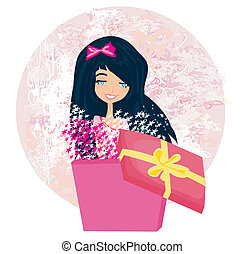 girl opening a Christmas or birthday present box