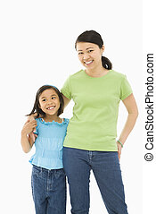Daughter with mother. - Asian mother and daughter standing...