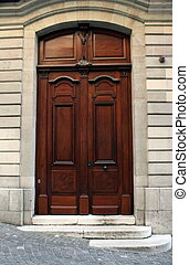 Old wooden door, Geneva, Switzerland