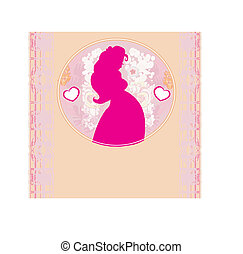 Baby Shower Cartoon Invitation - Silhouette of pregnant woman