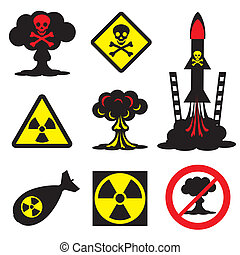 radiation hazard - set vector icons of radiation hazard and...