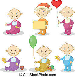 Cartoon children with toys