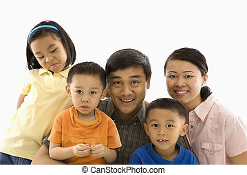 Asian family portrait - Asian family portrait against white...