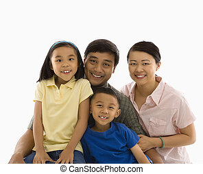 Asian family portrait. - Asian family portrait against white...