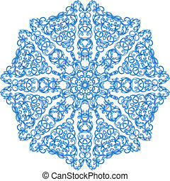 round blue lace pattern