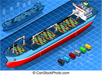 Isometric Cargo Ship with Containers Isolated in Front View...