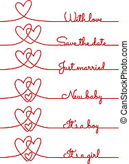 heart line drawings, vector - heart line drawing with text...