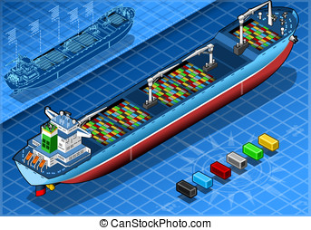 Isometric Cargo Ship with Containers Isolated in Rear View