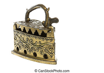Antique Brass Iron - Isolated image of an antique brass...