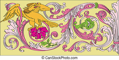 floral Baroque style - floral design with a bird in the...