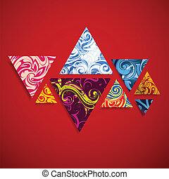 Graphic design elements on red. Ornamental triangles