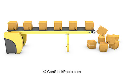 Belt conveyor with falling carton boxes isolated on white...