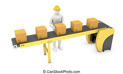 Worker sorts packages on belt conveyor isolated on white...