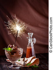 Greeting card with ice cream and a sparkler