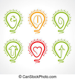 Bulb with different concept -vector illustration