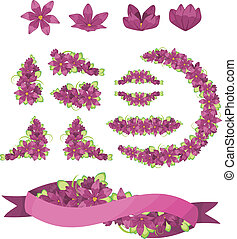 Set of purple flowers and ribbon