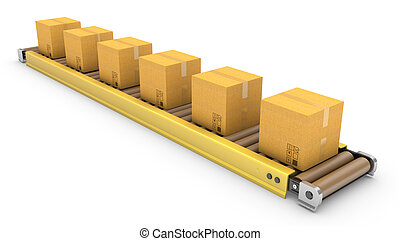 Roller conveyor with carton boxes isolated on white...
