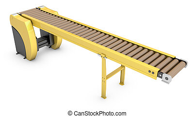 Empty roller conveyor isolated on white background