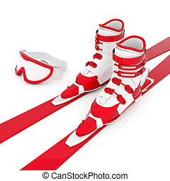 beautiful skiing - skiing isolated on a white background