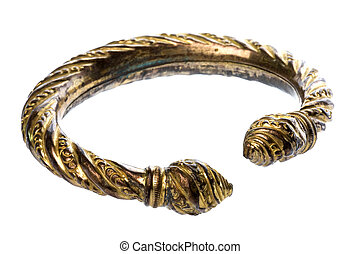 Antique Brass Ankle Bangle - Isolated image of an antique...