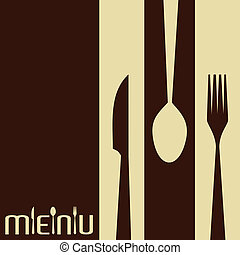 Template for menu card with cutlery-Vector Illustration