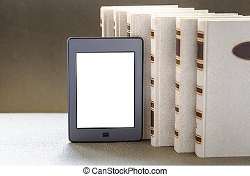 Ebook and old books on table - New technologies in book...