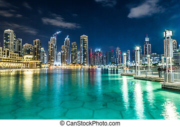 dubaï, unidas, centro cidade, árabe, Emirates, arquitetura,...