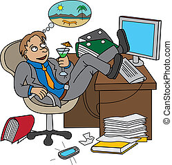 Office worker dreaming about vacati - Man sitting on...