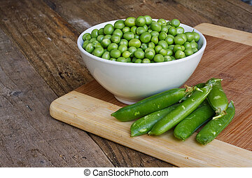 fresh garden peas - White Bowl of fresh garden peas recently...
