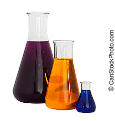 Chemistry conical flasks - Three conical flasks filled with...