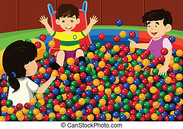 Kids playing in ball pool - A vector illustration of happy...