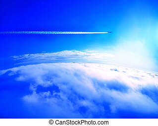 Airplane trail above the - Airplane con trail above the...