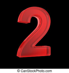 Number two- red isolated with clipping path