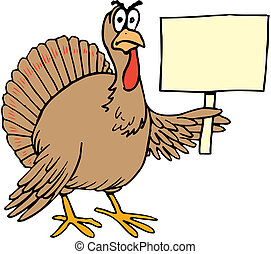 Vector cartoon turkey holding sign