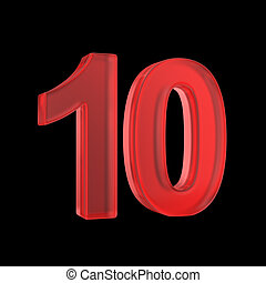 Red number 10 - Number ten - red isolated with clipping path...