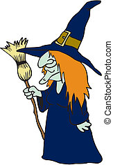 Evil cartoon witch. Vector illustration