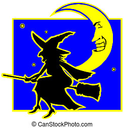 witch flying on a broomstick.