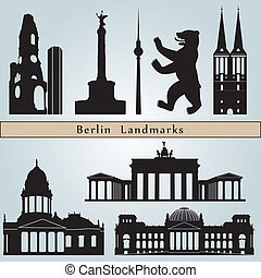 Berlin landmarks and monuments isolated on blue background...