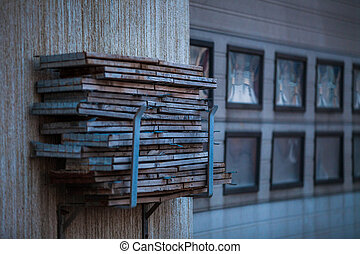 pile of wooden boards - pile of gray wooden boards stacked...