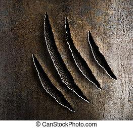 garras, daño, oxidado, metal