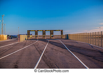 check point at Hirtshals - gates of the check in for cars...