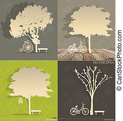 Set of Abstract tree background. Vector Illustration.