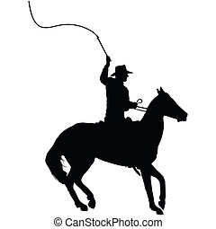 Horseman with Whip - Silhouette of a horseman cracking a...