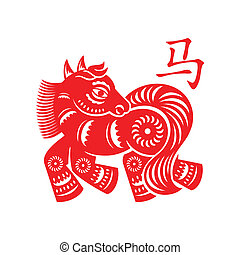 Horse Lunar symbol - Horse papercut of 2014 Snake Lunar year...