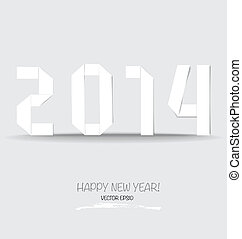 2014 Happy New year greeting card made in origami style...