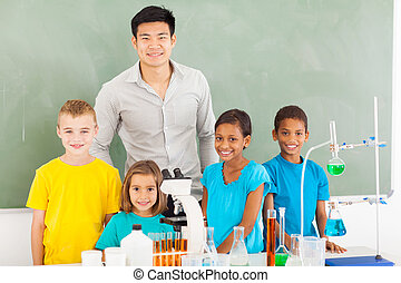 elementary school students and teacher in chemistry class -...