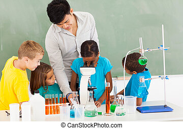 primary teacher and students in science class with young...