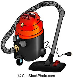 Vacuum cleaner - colored cartoon illustration