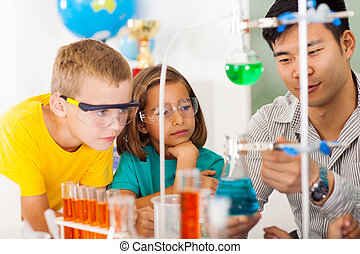 primary science class - primary students in science class...