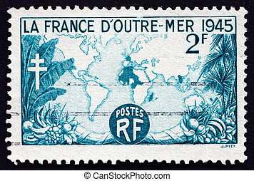 Postage stamp France 1945 World Map Showing French Possessions